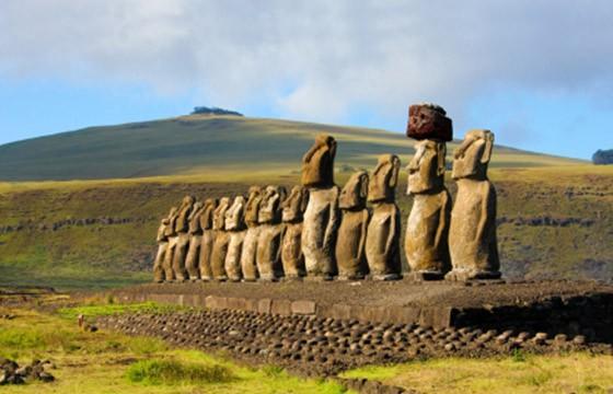 Vista de la construcción Isla Pascua Polinesia