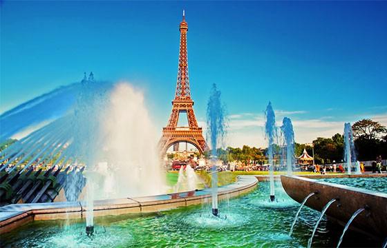 Vista de las fuentes de trocadero, Torre Eiffel París