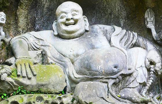 Escultura Buda de la cara sonriente en China