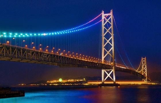 Vista del Puente Akashi Kaikyo en Japón