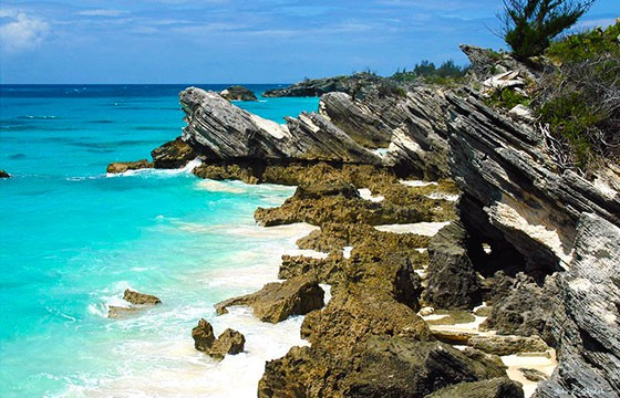 Vista de la famosa isla Triángulo de las Bermudas