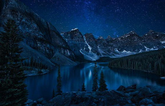 Lago Moraine, Canadá. Los mejores lugares del mundo para ver las estrellas.