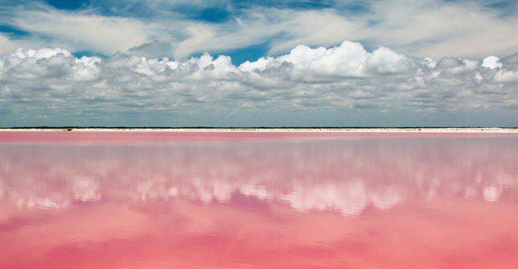 Lago de color rosa en México.