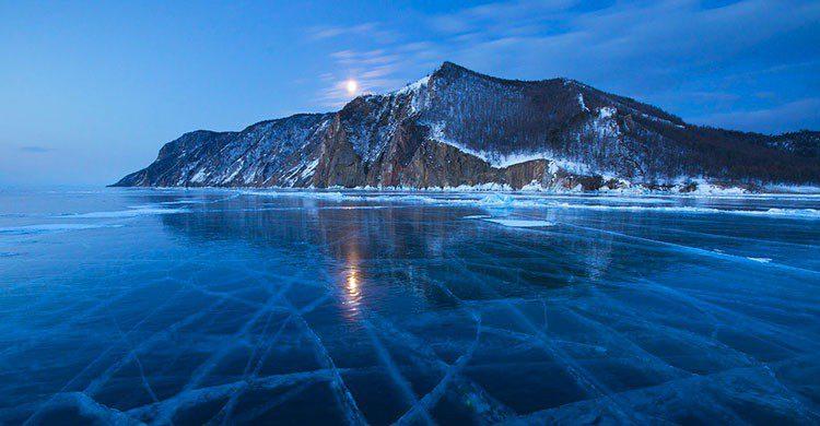 Lago en Rusia congelado.