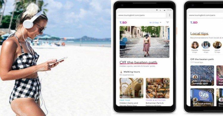 Mujer en la playa usando su celular con audífonos