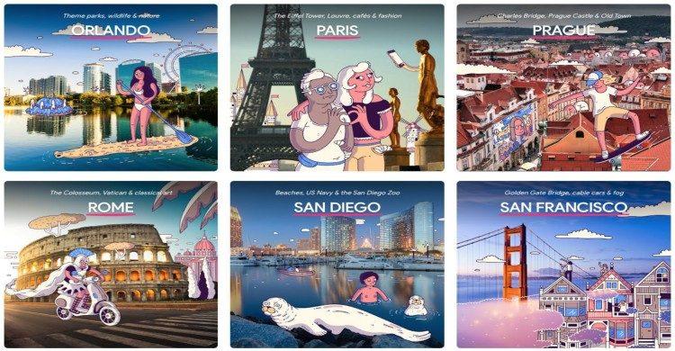 Principales ciudades de la aplicación Touring Bird