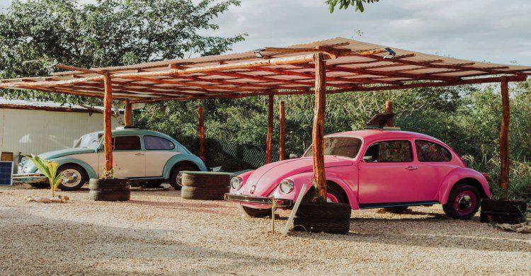 Vocho rosa en el Eco Camping Yucatán