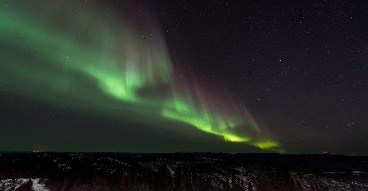 Aurora Boreal de noche en Noruega