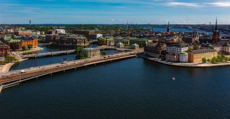 Vista aérea de Suecia de día