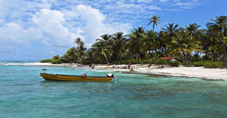 Lancha en playa de Barú, Colombia en mar turquesa de día con manglar de fondo