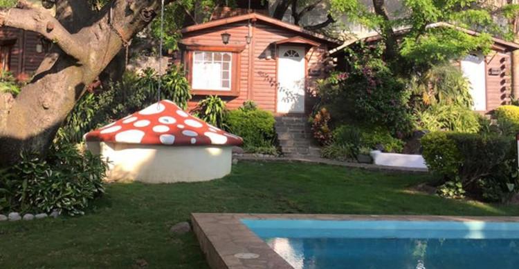 Cabaña de madera de día con escultura de hongo y alberca