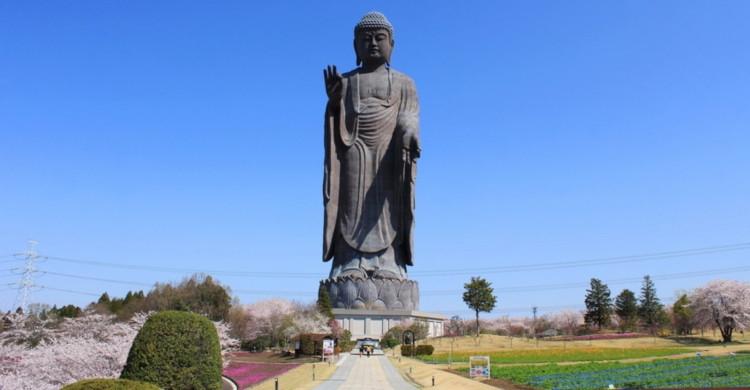 Estatua de buda de día con cielo azul